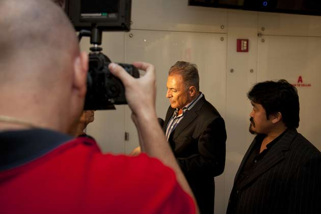 Professional actor Armand Assante giving interview