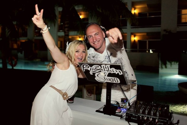 DJ Pushkin with Bride Inessa in Playa Del Carmen