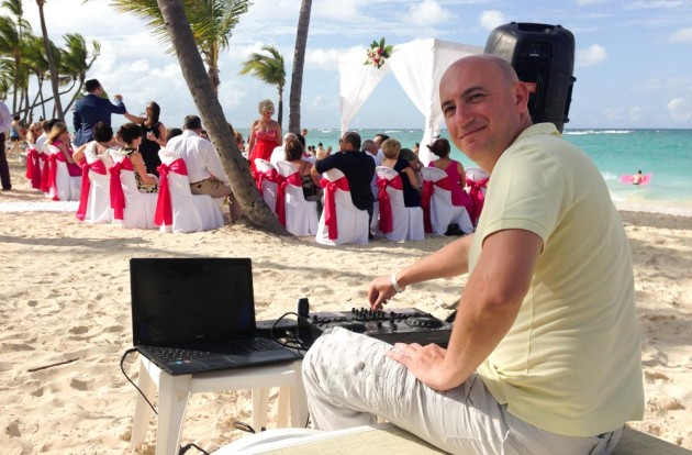 DJ Pushkin playing music at Wedding Ceremony